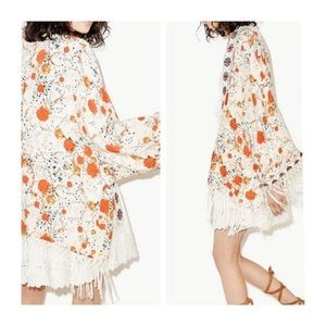 The Kooples Sunrise Floral Fringe Kimono